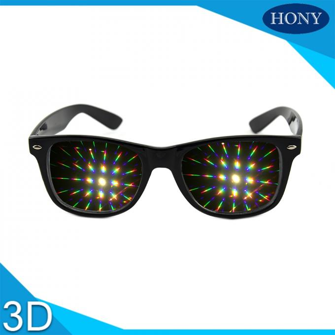 Wayfarer Style Prism Rave Parties Diffraction Glasses , 3d Firework Glasses