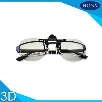 ประเทศจีน Plastic Circular Polarized Clip On 3d Glasses For Theaters Flicker Free ผู้จัดจำหน่าย